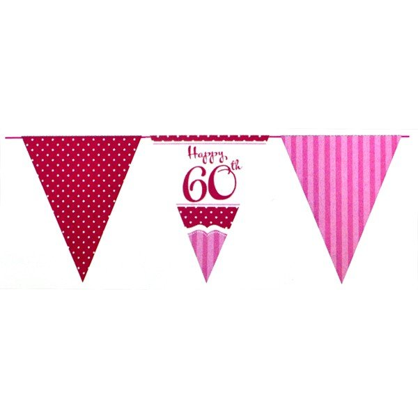 Creative Party 12 Foot Perfectly Pink Bunting - 60th