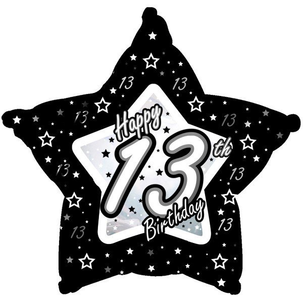 Creative Party 18 Inch Black/Silver Star Balloon - Age 13