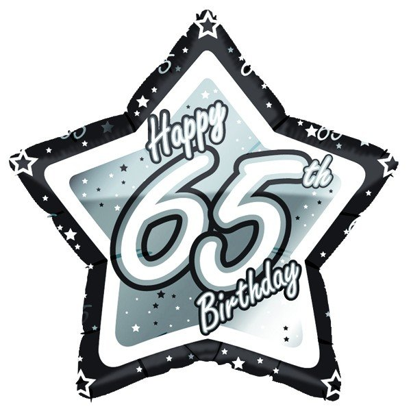 Creative Party 18 Inch Black/Silver Star Balloon - Age 65