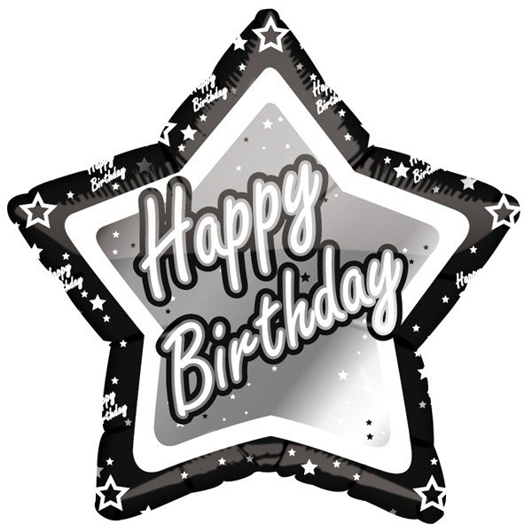 Creative Party 18 Inch Black/Silver Star Balloon - Happy Birthday