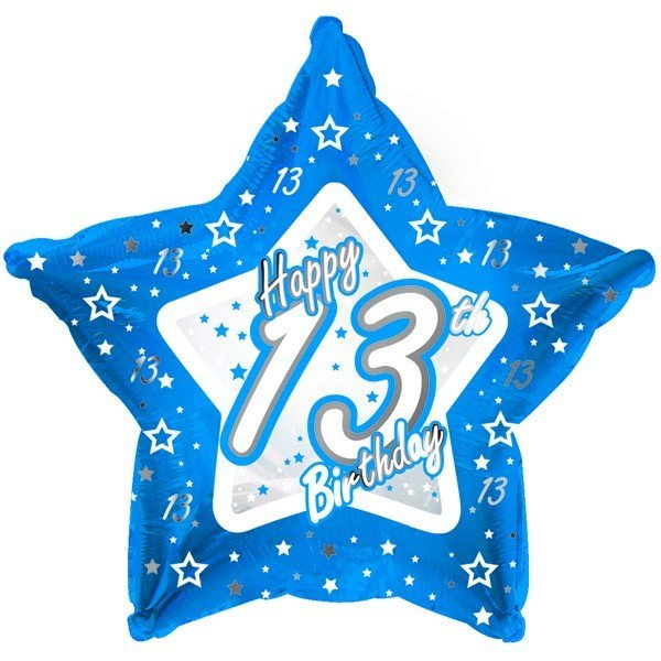 Creative Party 18 Inch Blue Star Balloon - Age 13