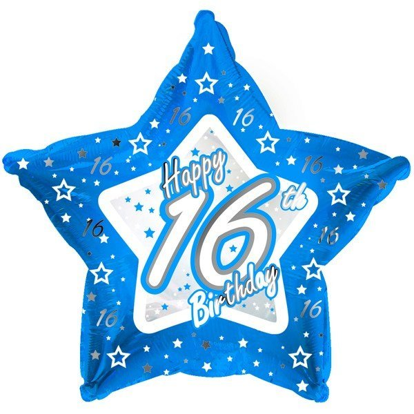 Creative Party 18 Inch Blue Star Balloon - Age 16