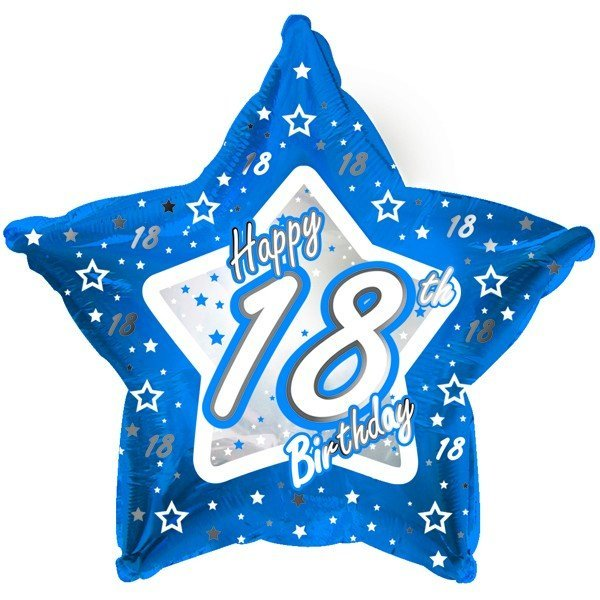 Creative Party 18 Inch Blue Star Balloon - Age 18