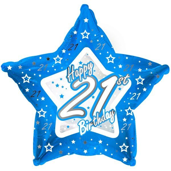 Creative Party 18 Inch Blue Star Balloon - Age 21