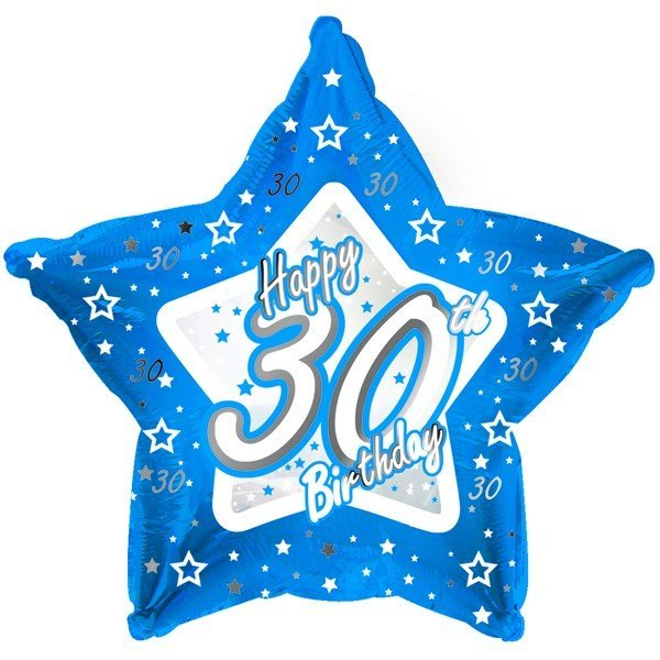 Creative Party 18 Inch Blue Star Balloon - Age 30