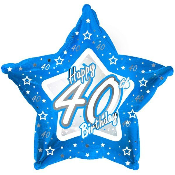 Creative Party 18 Inch Blue Star Balloon - Age 40