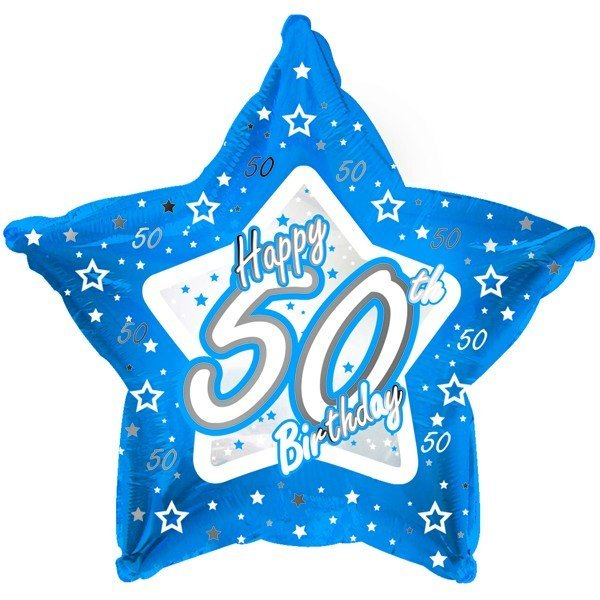 Creative Party 18 Inch Blue Star Balloon - Age 50