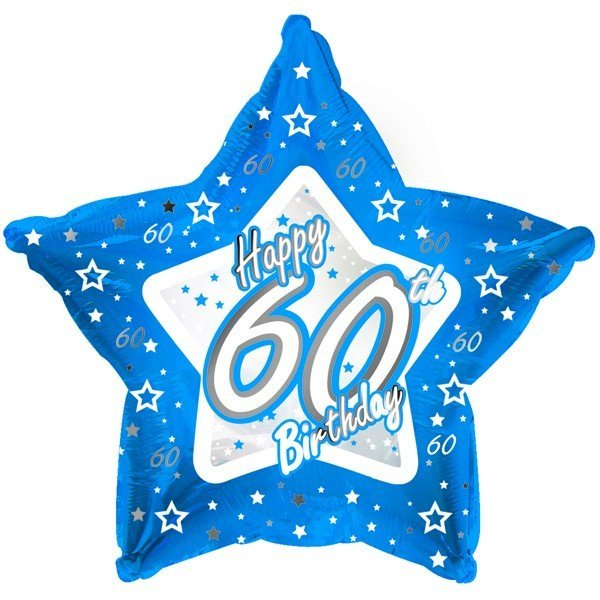 Creative Party 18 Inch Blue Star Balloon - Age 60