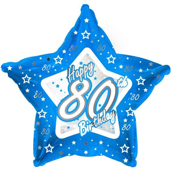 Creative Party 18 Inch Blue Star Balloon - Age 80