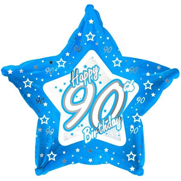 Creative Party 18 Inch Blue Star Balloon - Age 90