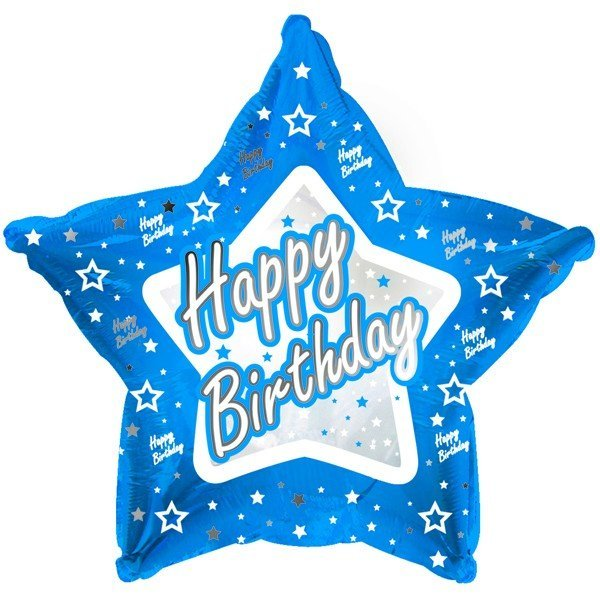 Creative Party 18 Inch Blue Star Balloon - Happy Birthday