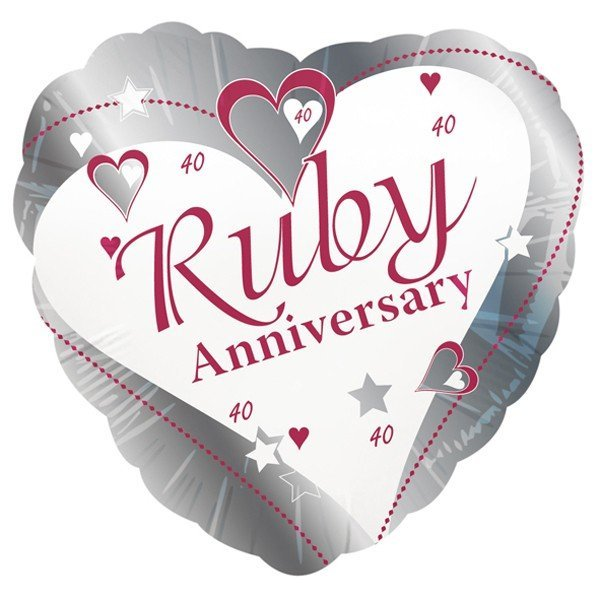 Creative Party 18 Inch Foil Balloon - Ruby Anniversary