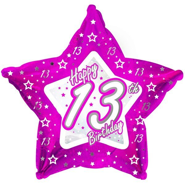Creative Party 18 Inch Pink Star Balloon - Age 13