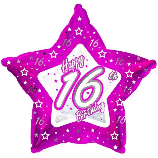 Creative Party 18 Inch Pink Star Balloon - Age 16