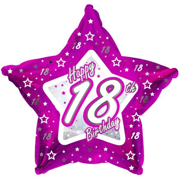 Creative Party 18 Inch Pink Star Balloon - Age 18