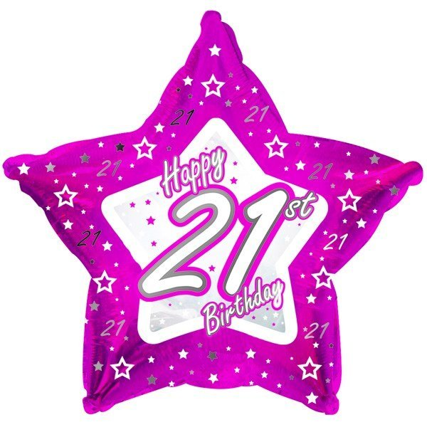 Creative Party 18 Inch Pink Star Balloon - Age 21