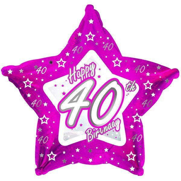 Creative Party 18 Inch Pink Star Balloon - Age 40