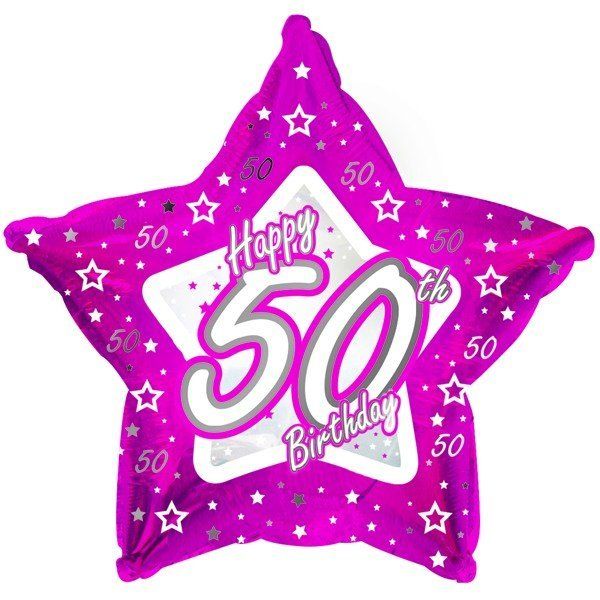 Creative Party 18 Inch Pink Star Balloon - Age 50
