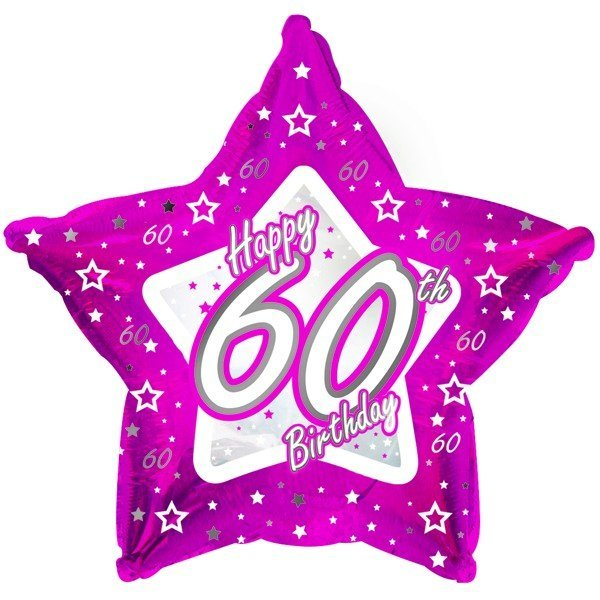Creative Party 18 Inch Pink Star Balloon - Age 60