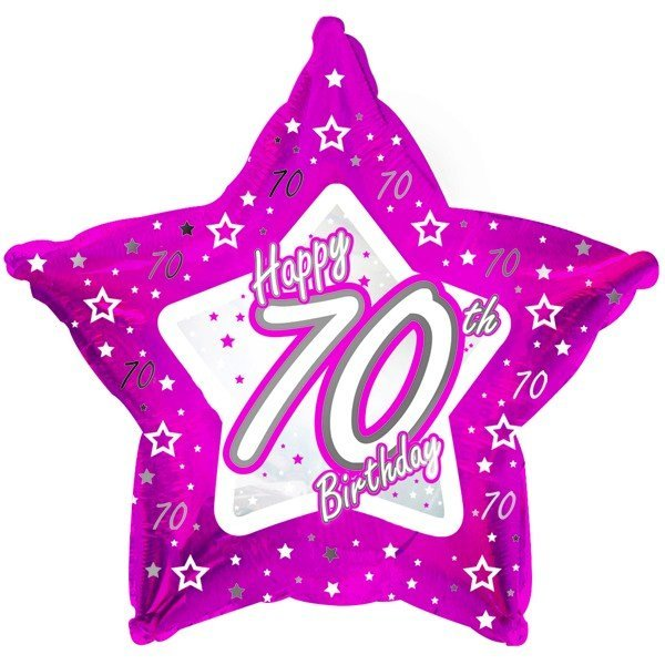 Creative Party 18 Inch Pink Star Balloon - Age 70
