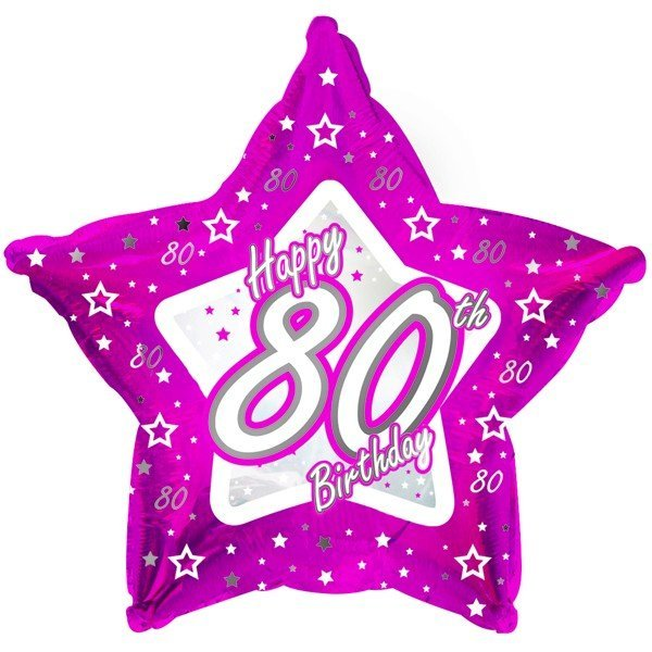 Creative Party 18 Inch Pink Star Balloon - Age 80