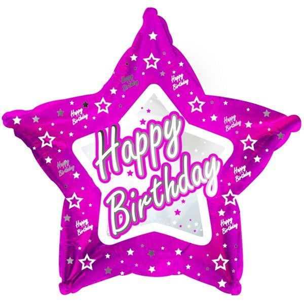 Creative Party 18 Inch Pink Star Balloon - Happy Birthday