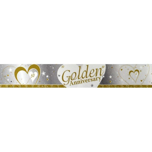 Creative Party 9 Foot Anniversary Foil Banner - Golden