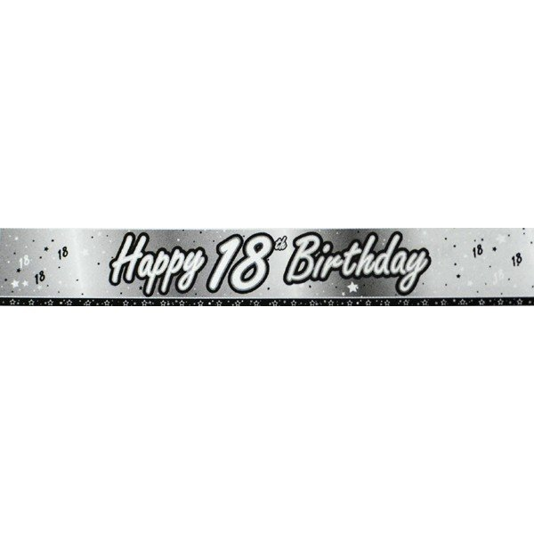 Creative Party 9 Foot Black Foil Banner - 18th
