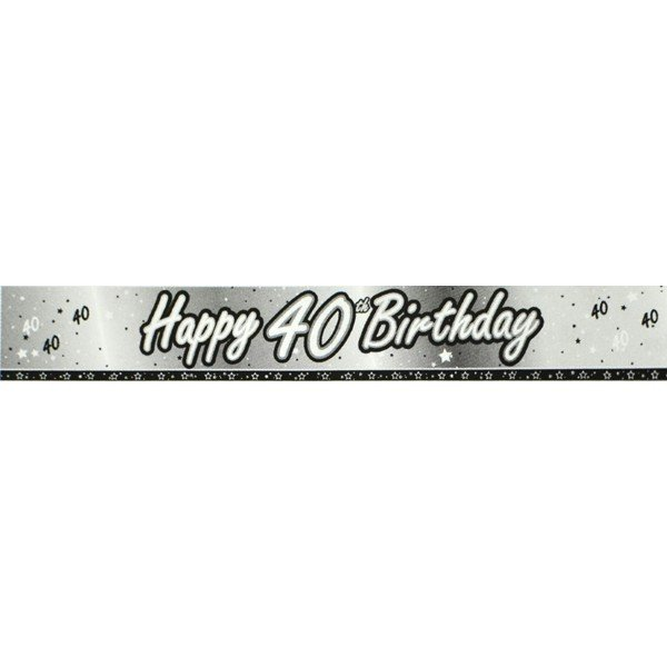 Creative Party 9 Foot Black Foil Banner - 40th