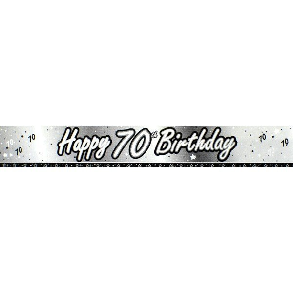 Creative Party 9 Foot Black Foil Banner - 70th