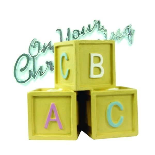 Creative Party Cake Topper - Baby Blocks & Christening Motto