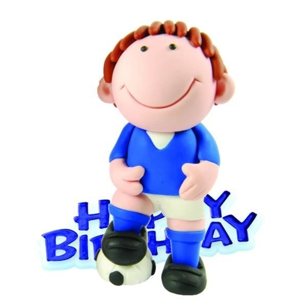 Creative Party Cake Topper - Football & Blue Motto