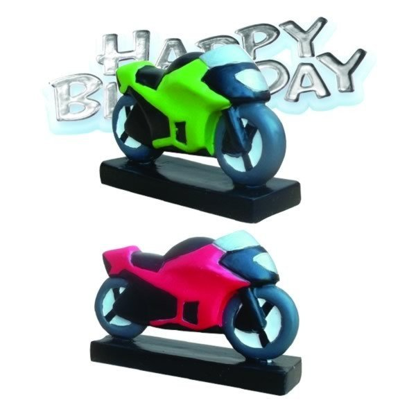 Creative Party Cake Topper - Motorbike & Silver Motto