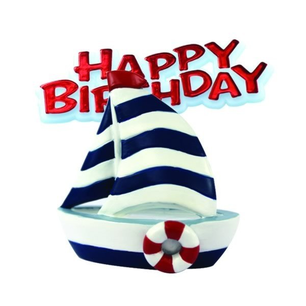 Creative Party Cake Topper - Sail Boat & Red Motto