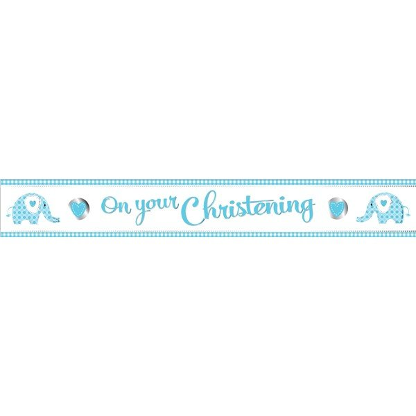 Creative Party Christening Foil Banner - Elephant Blue