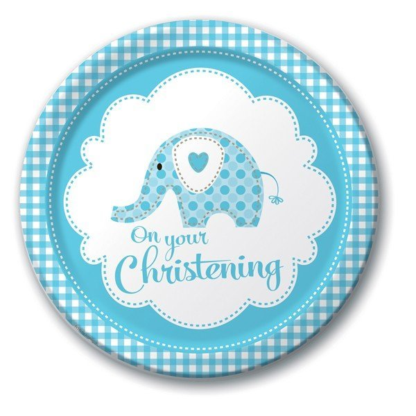 Creative Party Dinner Plates - Elephant Blue Christening