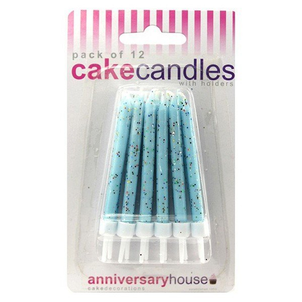 Creative Party Glitter Candles - Pale Blue