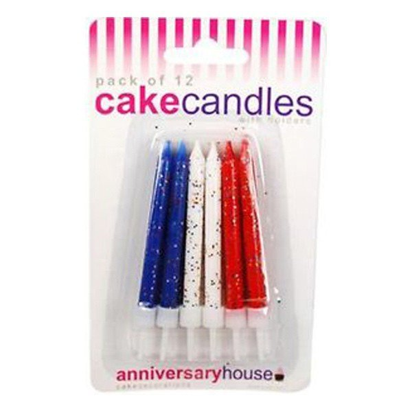 Creative Party Glitter Candles - Red White Blue