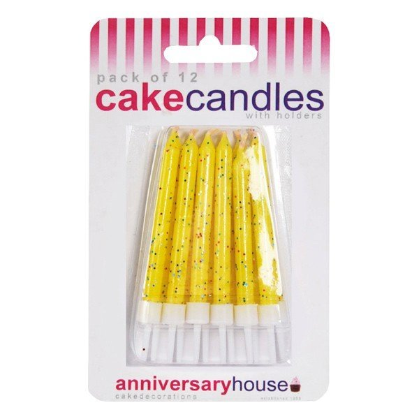 Creative Party Glitter Candles - Yellow