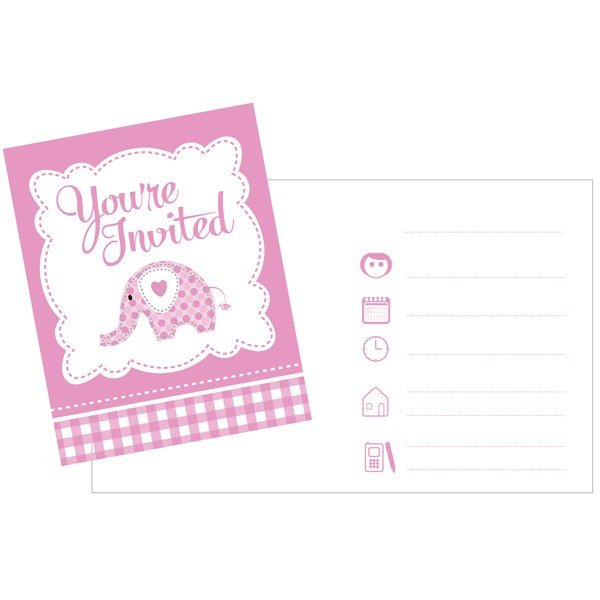 Creative Party Invitations - Pink Sweet Baby Elephant