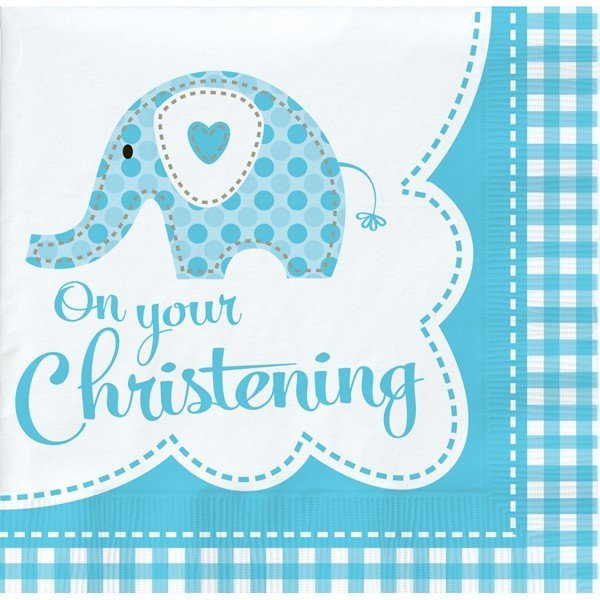 Creative Party Lunch Napkins - Elephant Blue Christening