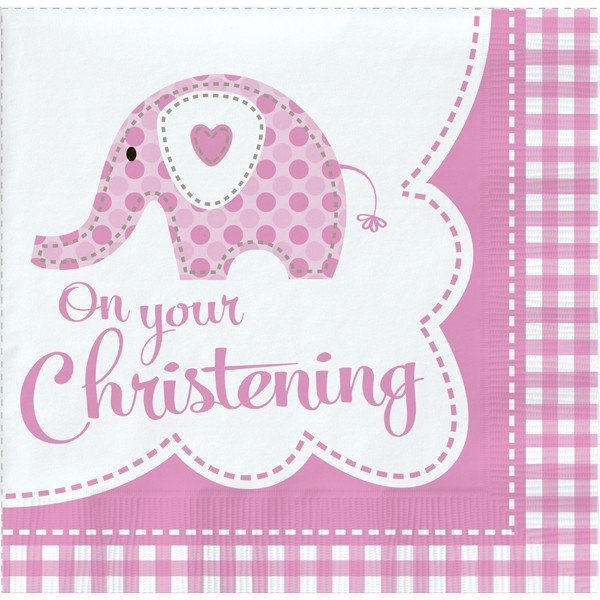 Creative Party Lunch Napkins - Elephant Pink Christening