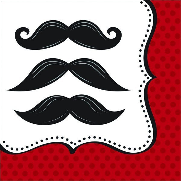 Creative Party Lunch Napkins - Moustache Madness