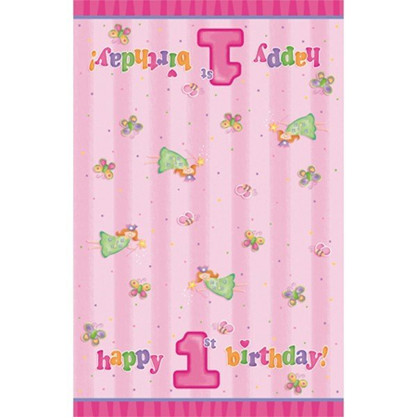Creative Party Plastic Tablecover - Fun At 1 Girl