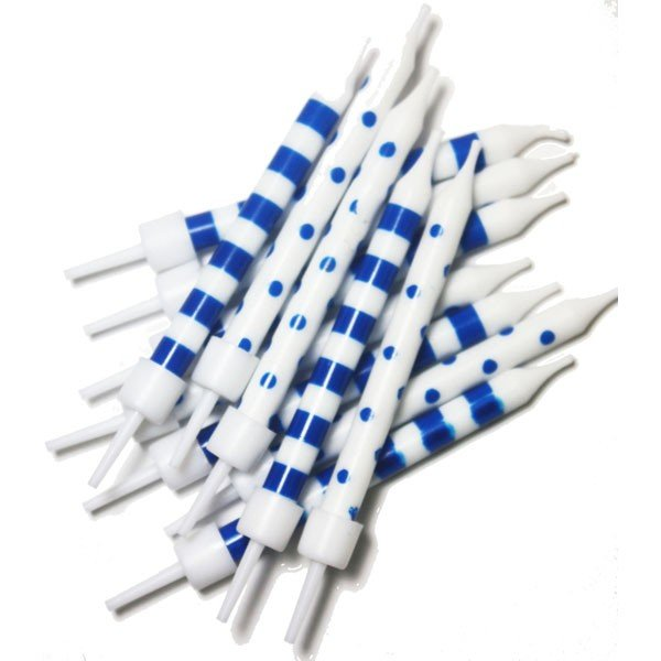 Creative Party Spot & Stripe Candles - Blue White