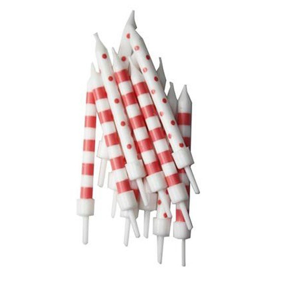 Creative Party Spot & Stripe Candles - Coral White