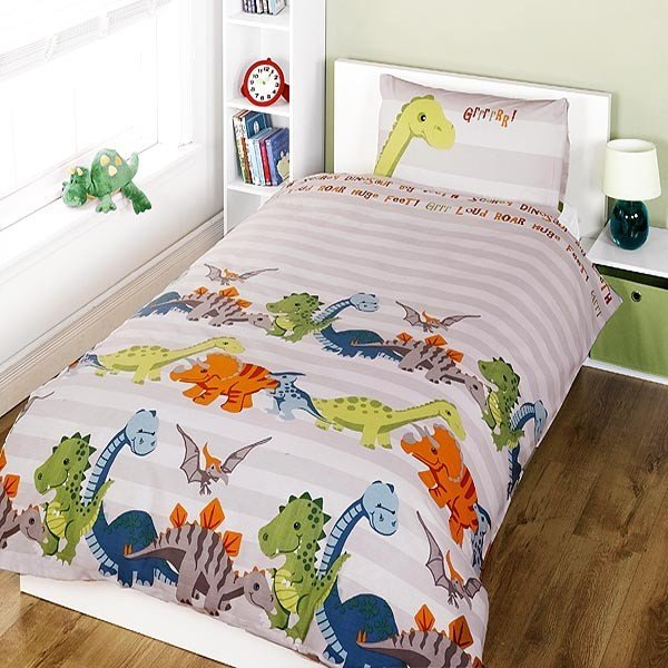 Dinosaur Single Duvet Set - Natural