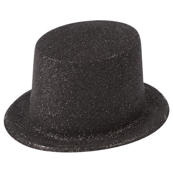 Henbrandt Glitter Adult Top Hat - Black