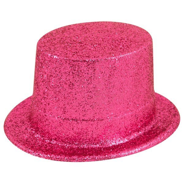 Henbrandt Glitter Adult Top Hat - Dark Pink