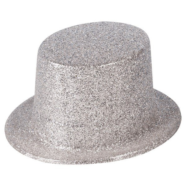 Henbrandt Glitter Adult Top Hat - Silver